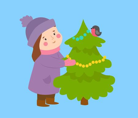 Meisje en Kerstboom op blauwe achtergrond, vectorillustratie.