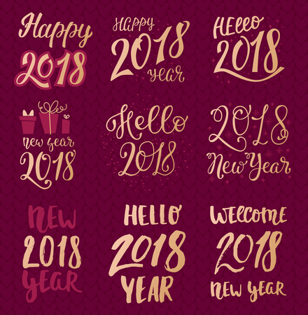 2018 happy New Year gold text  for holiday calendar print golden design or Christmas newborn yearly party illustration