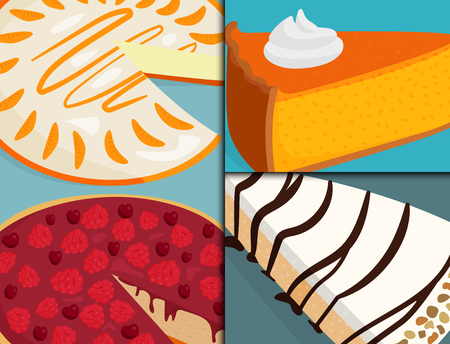 Homemade organic pie dessert cards vector illustration fresh golden rustic gourmet bakery.