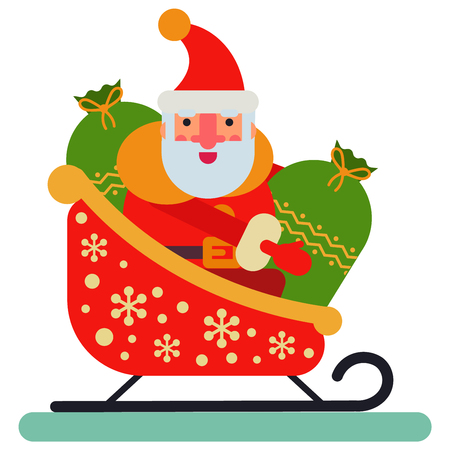 Santa Claus riding in a sleigh. isolated illustration