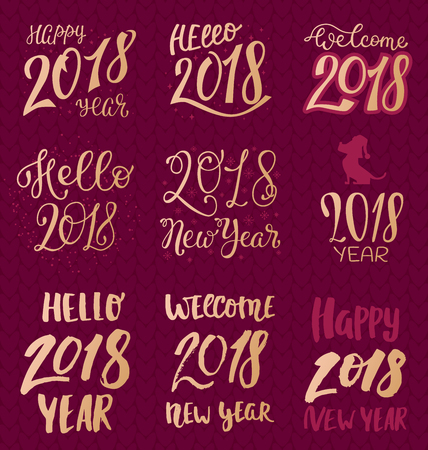 2018 happy New Year gold text for calendar in maroon background.