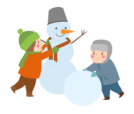 Kids making snowman in isolated background. Vectores