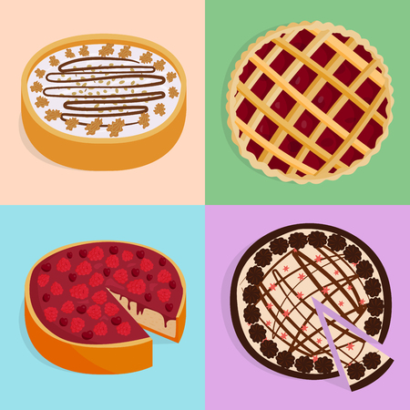 Homemade organic pie dessert vector illustration. Fresh golden rustic gourmet