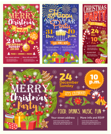 Christmas party invitation vector card background design template for noel Xmas holiday celebration clipart New Year colors printable party poster Stock Vector - 90059024