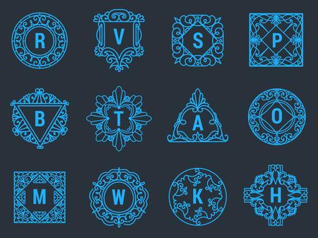 Monogram vector brief embleem logo vintage sieraad ontwerp teken bloemen elegant frame decoratieve persoonlijke naam branding of bruiloft pictogram illustratie. Stock Illustratie