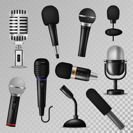 Microphone vector sound music audio voice mic recorder karaoke studio radio record phonetic vintage old and modern interview micro device set 3d isolated illustration.