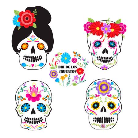 Día de vacaciones colorido de los símbolos Dia De Los muertos del vector muerto. Foto de archivo - 90808784