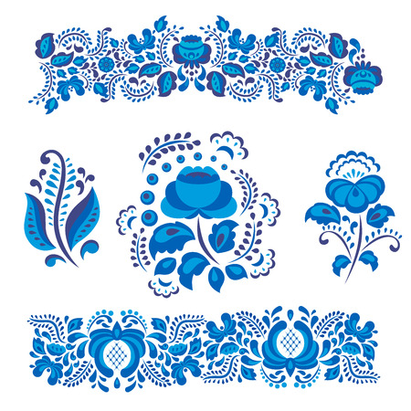 Russian ornaments art gzhel style painted with blue on white flower traditional folk bloom branch pattern vector illustration.