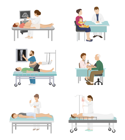 Doctor and patient vector medical healthcare hospital medicine nurse doctoral office in hospital visit in-patient people health care concept illustration Stock Photo