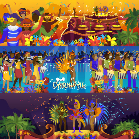 Vector brazil carnival rio festival celebration brazilian girls dancers samba party carnaval traditional costume south holiday dancer illustration banner.