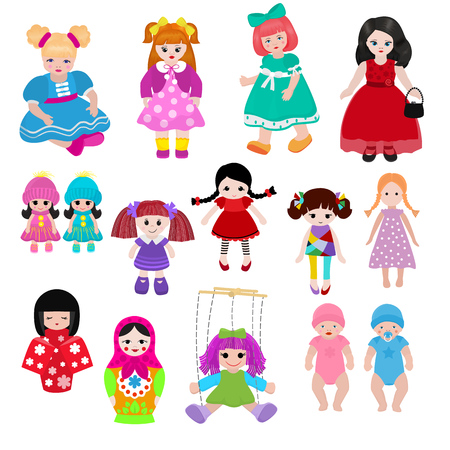 Vector doll toy cute girl female set illustration childhood baby dress face child beautiful dollhouse children baby toyhouse cartoon dollhouse isolated on white background Stock Photo