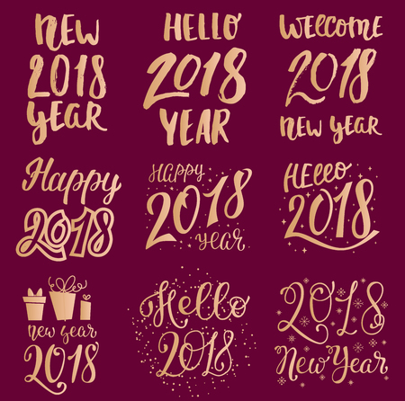 2018 happy New Year gold text logo for holiday calendar print golden design or Christmass newborn yearly party illustration Ilustração