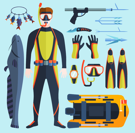 Set of flat elements for spearfishing in sea rivers and lakes. Underwater protective sea diver equipment. Vector professional hunter scuba harpoon. Illustration