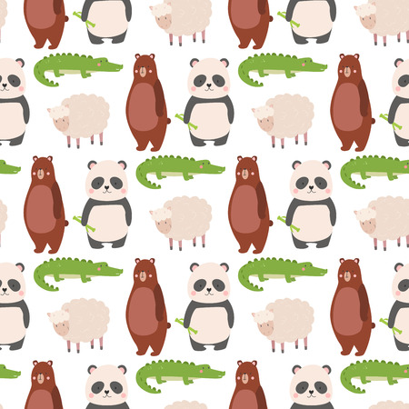 Cartoon bear zoo animals character different sheep crocodile panda pose vector seamless pattern background