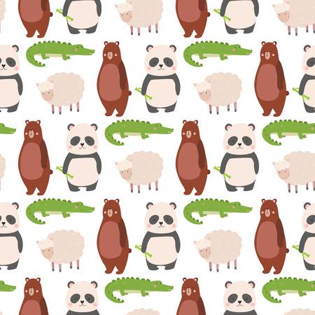 Cartoon bear zoo animals character different sheep crocodile panda pose vector seamless pattern background