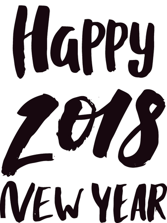 2018 happy New Year black text logo for holiday calendar print design or Christmass newborn yearly party illustration