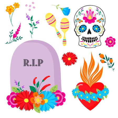 Kleurrijke symbolen Dia De Los muertos vakantiedag van de dode vector. Stock Illustratie