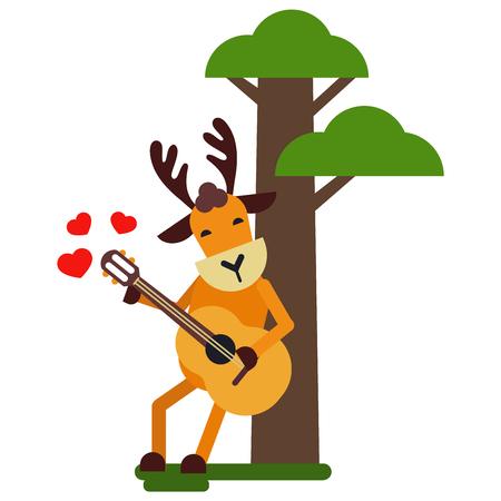 Christmas cute reindeer haracter vector New Year illustration of deer animal for sleigh