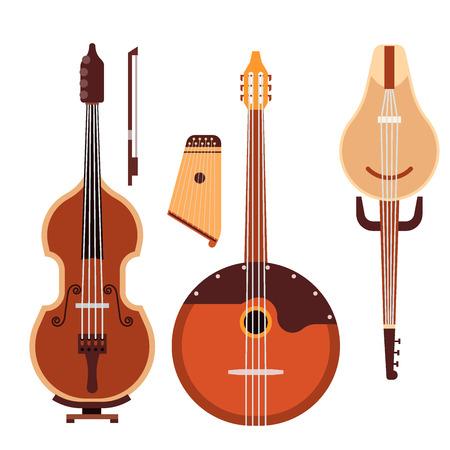 弦楽器楽器クラシック オーケストラ芸術のサウンド ツールと音響交響楽団弦楽器バイオリン木製機器ベクトル図のセット