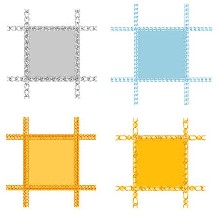 Las cadenas enlazan las fronteras del vector de conexión de fuerza de los marcos de piezas de metal vinculadas y la protección del equipo de hierro muestra fuerte fondo de diseño brillante. Foto de archivo - 90654999