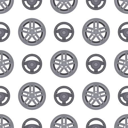 Steering wheels hearts seamless pattern background auto wheel vector illustration. Stock Photo