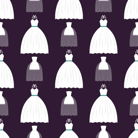 결혼식 신부 드레스 우아함 스타일 축하 원활한 패턴 배경 신부 샤워 컴포지션 벡터 일러스트 레이션