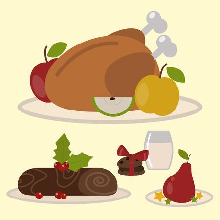 Set of traditional christmas food and desserts holiday decoration xmas sweet celebration dessert vector illustration.