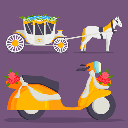 Wedding fashion transportation traditional auto expensive retro ceremony bride transport and romantic groom marriage beauty love automobile vector illustration.