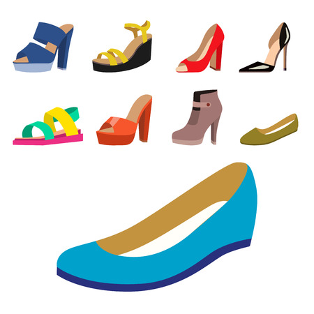 Set of womens shoes flat design vector collection of leather colored moccasins sandals illustration.