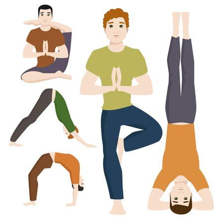De yogaposities bemannen karakters van de de concentratie menselijke vrede van de klassenmeditatie mannelijke de levensstijl vectorillustratie.