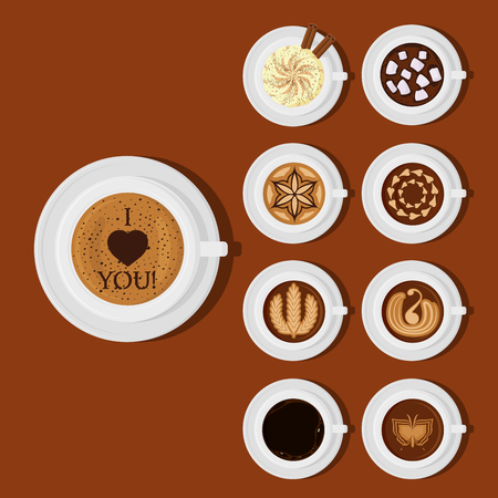 Different types of coffee chocolate cocoa cups top view perfect for menu assortment vector illustration.