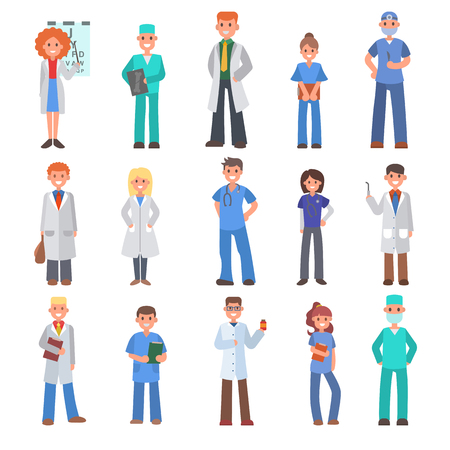 Different doctors vector people doctoral profession specialization nurses and medical staff people hospital doc character illustration