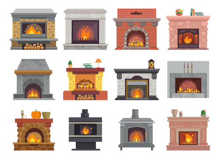 Fireplace vector house christmas wood fire place home illustration warm winter interior bonfire isolated illustration set