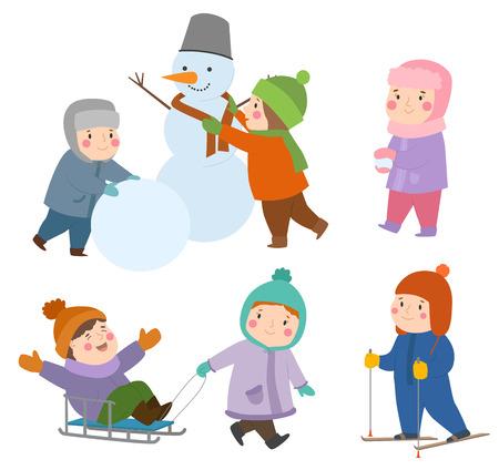 子供の冬クリスマス ゲーム遊び場子供休日プレイタイム種類雪だるま、スケート、キディのスポーツ ゲームをプレイ 写真素材