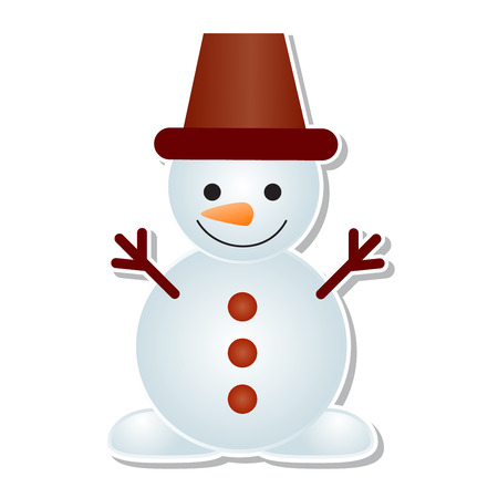 Snowman icon vector winter Christmas character holiday merry Xmas snow boy illustration. Stock Photo