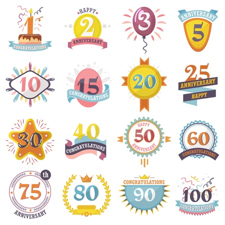 Anniversary badges set vector birthday numbers emblems holiday festive celebration birth age letter with ribbons illustration isolated on white background