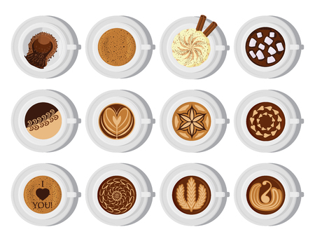 Different types of coffee chocolate cocoa cups top view. Perfect for menu assortment top view collection vector illustration. Aroma fresh black cappuccino with foam Ilustração