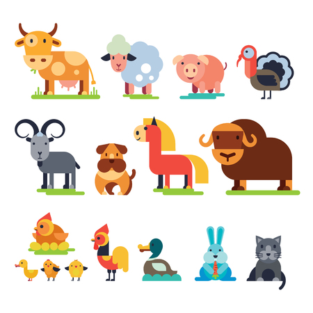 Farm animals vector set domestic farming characters cow and sheep, pig, turkey, dog, horse and cat farmer animals illustration isolated on white background.