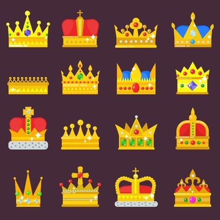 Coroa vetor conjunto dourado real jóia símbolo de rei rainha princesa coroação príncipe autoridade coroa jóia isolado ilustração Foto de archivo - 90742112