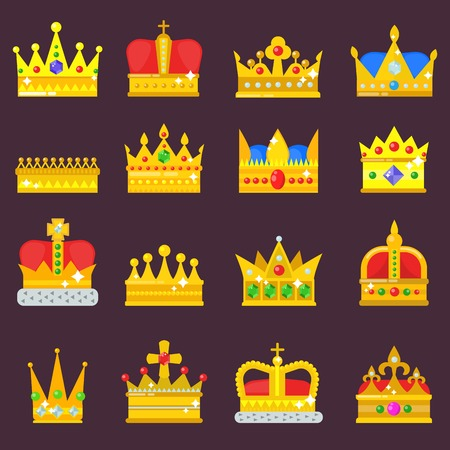 Crown vector set golden royal jewelry symbol of king queen princess crowning prince authority crown jeweles isolated illustration Illustration