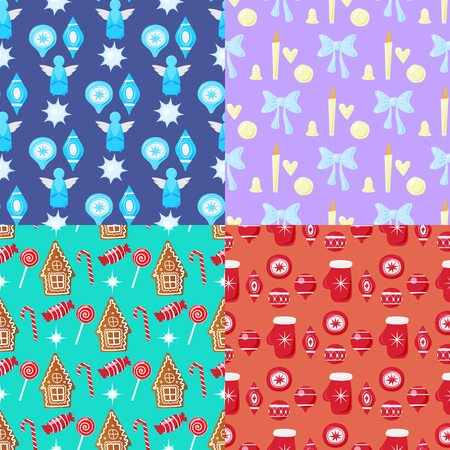 Merry Christmas and Happy New Year seamless patterns set of winter holiday backgrounds vector illustration