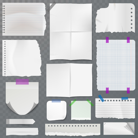 Note papers vector page of notepad or sheets of nootbook and stickers set for memos messages reminders isolated illustration