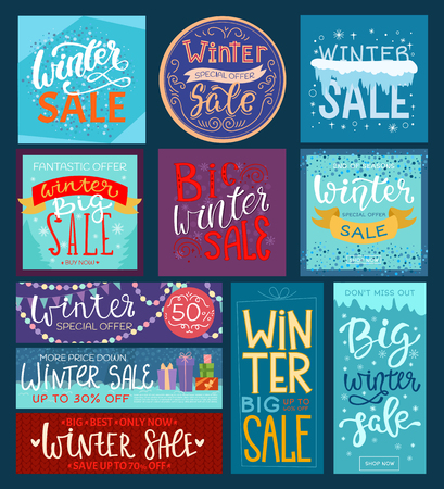 Christmas winter sale vector saleable wintertime Xmas advertisement shopping big offer banner to buy gifts advertising flyer illustration