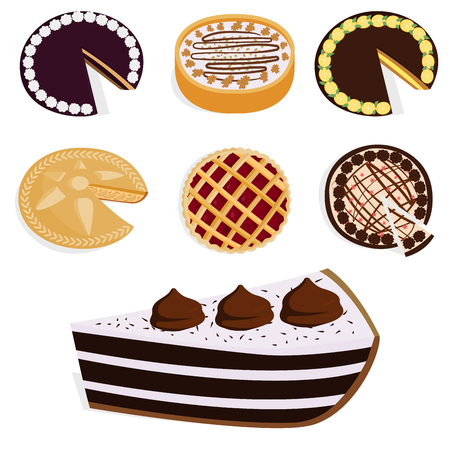 Homemade organic pie dessert vector illustration fresh golden rustic gourmet bakery.