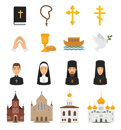 Christian icons vector christianity religion signs and religious symbols church faith christ bible cross hands praying to God illustration isolated on white background Illustration