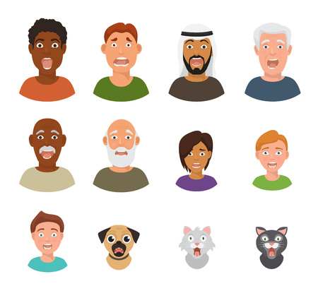 Scared people face vector frightened characters scary in panic and afraid nervous man, boy, cat and dog animals facial illustration isolated on white background Illustration