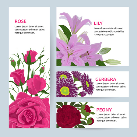 Floral flower card invitation vector set greeting postcard with flowering bouquet of rose lily gerbera peony vintage illustration invite isolated on white background. 向量圖像