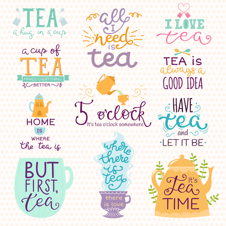 Tea time lettering logo quote vector lettering handdrawn cup of tea vintage print teatime typography poster design teapot isolated badge illustration  イラスト・ベクター素材