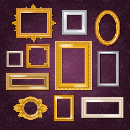Frames vector blank picture framing in vintage set of gold framework on wall illustration isolated on white background Çizim