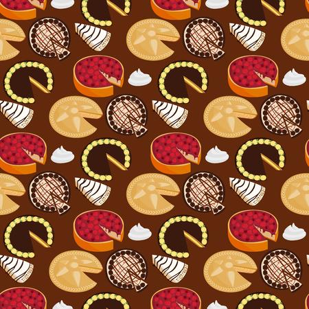 Homemade organic pie dessert vector illustration fresh golden rustic gourmet bakery seamless pattern background. Stock Photo